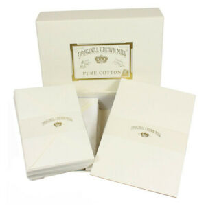 Crown Mill Pure Cotton A5 Set of 100 Sheets and 50 Envelopes - White