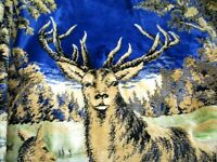 Velvet Wall Tapestry Deer Stag and Doe Herd Large 4'x6' Vintage made in Italy