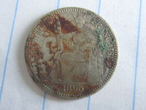 10 Cent Indo-China Silver Coin 1895 (See Photos) #B295