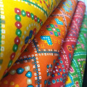 "Cotton Indian Ethnic Rajasthani Print Suzani Rangoli Boho Banjara Fabric 44"""