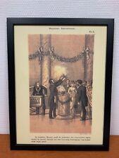 Framed engraving 30x40 cm Freemason Vrijmetselarij  Masonic Wedding Performance