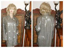 M/L Shiny Checkered Vinyl Raincoat PVC Rain Jacket Ellen Tracy vinyl Trench Coat