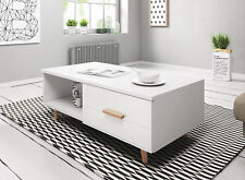 WHITE GLOSS White Mat Coffee Table Nordic Cabinet Scandinavian Lowboard Wood Leg