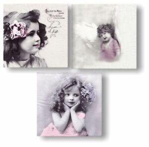 3 Servietten vintage Fotos Serviettentechnik Decoupage Scrap Design Sagen Poesie