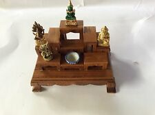 Set of 9 PCS Mini Altar Wood Table Thai Buddha Worship +Track
