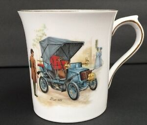 Rosina China ENgland Coffee Cup Mug With Antique Fiat Car And Horn Design