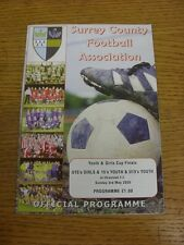 03/05/2009 Football Programme: Surrey County Youth And Girls Cup Finals - U13 Yo