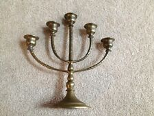 Vintage Brass Menorah 5 Arm Candelabra Candlestick Holder