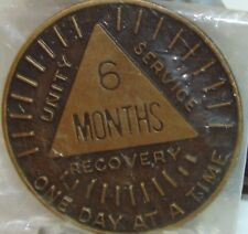 Alcoholics Anonymous AA 6 MONTH Sunshine Bronze Medallion Token Chip Coin Sober