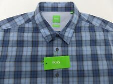NWT $125 Hugo Boss Modern Fit Blue Plaid LS Shirt Mens 2XL XXL C-Briar NEW