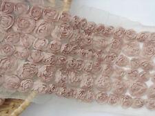"Lcae Trim Lace Fabric Coffee 6 Rows Rose Wedding Fabric 4.33"" width 1 yard"