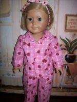 """plaid ladybug flannel pajamas fits 18"""" American girl"""