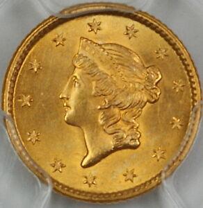 1853 $1 Dollar US Gold, PCGS MS-64+ *Gem BU Coin* Type 1
