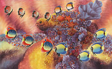 Hand painting Balinese Bali Abstract Marine Life Coral 238