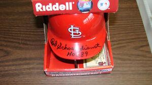 Red Schoendienst Autograph / Signed St. Louis Cardinals Mini Helmet HOF 89