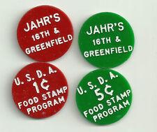 SALE JAHR's food stamp token USDA 1 c & 5c  pair small unique size 15/16th inch