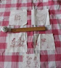 5 Antique 19thc Victorian Children Hand Emb Cotton Red Work Squares~Quilts