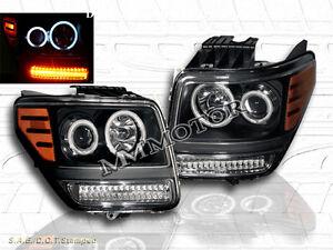 2007 - 2011 DODGE NITRO BLACK CCFL PROJECTOR HEADLIGHTS HALO/LED PARK SIGNAL NEW