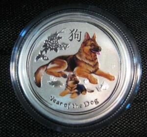 """2018 Silver Australian """"Year of the Dog"""" Colorized 1/4 OZ. Perth Mint Gorgeous"""