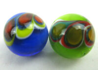 2x PEACOCK 16mm Handmade Art Glass Orange Blue Green Yellow Red Design Marbles