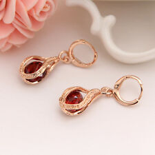New Women's Gold Plated Cubic Zirconia Red Party Earrings Drop Jewellery Gift