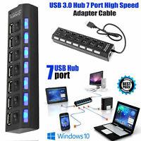 HIGH SPEED USB 2.0 7 PORT USB HUB 2.0 MULTI SPLITTER DESKTOP PC LAPTOP ADAPTER