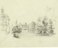 Vue d'un Chateau dans un PARC Dessin Ancien Original XIXe marqué Navarre 1855