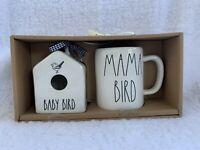NEW Rae Dunn Square Mini BABY BIRD Birdhouse and MAMA BIRD Mug Set
