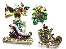 LOT OF 4 VINTAGE Rhinestone Enamel Christmas Santa Holly Pins Brooches Jewelry F