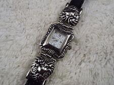 Women's SUNRISE Silvertone Heart Black Band Watch (D50)