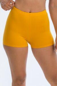 S M L Women's High Waist Stretchy Knit Biker Shorts Soft Pull On Basic Solid Gym