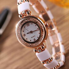 Women Luxury Rhinestone Round Dial Quartz Analog Wrist Watch Bangle htd16