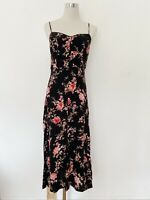FOREVER NEW black floral midi dress with spaghetti straps size 8