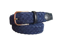 Cintura 3,5 cm intrecciata in scamosciato blu foderata in cotone