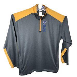 NHL St. Louis Blues 1/4 Zip Pullover Jacket Mens Size 2XL XXL Hockey Zipper