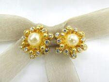 Element Austrian Crystal Clip On Earrings 18K Gp Round Pearl Flower Swarovski