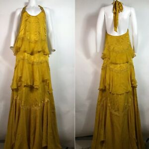 Rare Vtg Roberto Cavalli Mustard Yellow Halter Maxi Silk Dress 38 XS