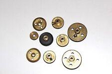 Meccano Toys Brass / Black Set Of 9 Pulley Wheels (Worn)