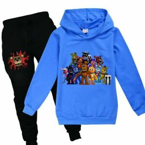 FNAF Five Night At Freddy's Kids Outfits Horror Game Hoodie Pant 2pcs Sets Long!