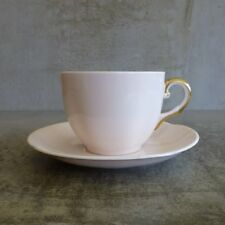 Vintage Plant Tuscan China Teacup Saucer England Pale Pink Gold Trim English