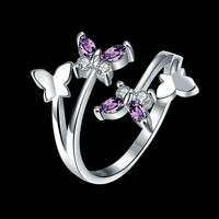 Adjustable Knuckle Zircon Crystal Butterfly For Women Rings Finger Ring