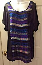 Women's FRENCH CONNECTION FCUK Sequin Striped Black Party Cocktail Dress Sz 4