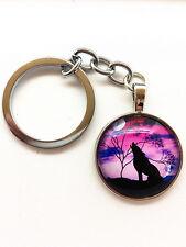 Vintage wolf Keychain Cabochon Tibetan silver Glass Metal Key Ring