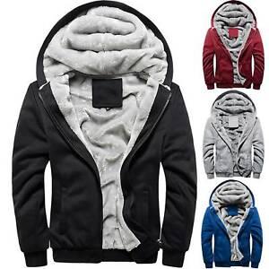 Mens Hooded Sherpa Jacket Winter Fleece Lined Faux Fur Warm Hoodies Coat Outwear