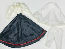 "VTG Doll Dress Clothes Black Skirt White Blouse For 16-17"" Slender Waist Dolls"