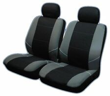 UNIVERSAL FRONT CAR SEAT COVERS Inc Headrest Black/Grey Washable & Airbag Safe