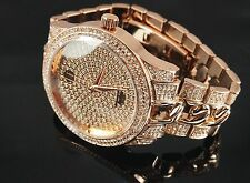 """""""NEW"""" TECHNO PAVE MEN'S ROSE GOLD TONE LUXURY DESIGN CUBAN ICED OUT BLING WATCH"""