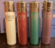 4 x New Genuine Clipper MIXED COLOURS (NO.9) Refilable Gas Pocket Lighters