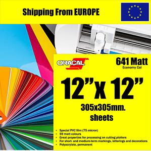 MATT 12'' x 12'' Vinyl Sheet Permanent Oracal 641 Craft for Cricut Silhouette