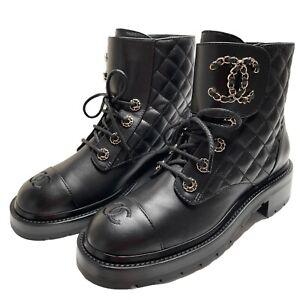 NIB 2021 Chanel Combat Boots Black 38 EUR size